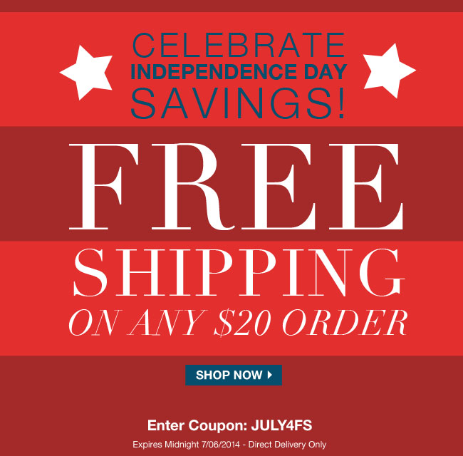 Free Shipping July 4 2014