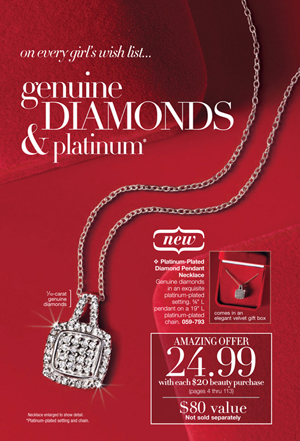 Avon Platinum-Plated Diamond Pendant Necklace