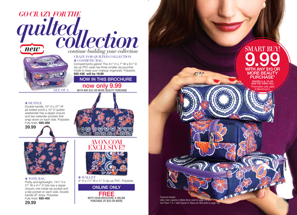 Avon Quilted Collection Cosmetic Bag - Beauty, Makeup and More