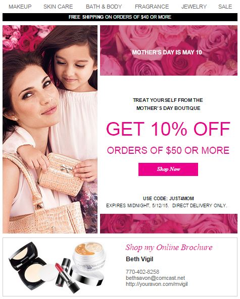 Avon Coupon Code JUST4MOM