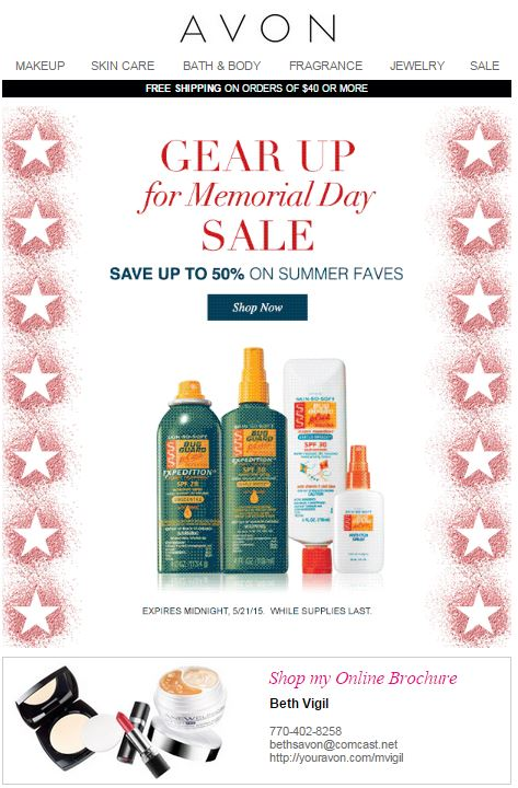 Avon Memorial Day Sale