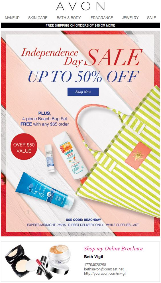Avon Coupon Code BEACHDAY
