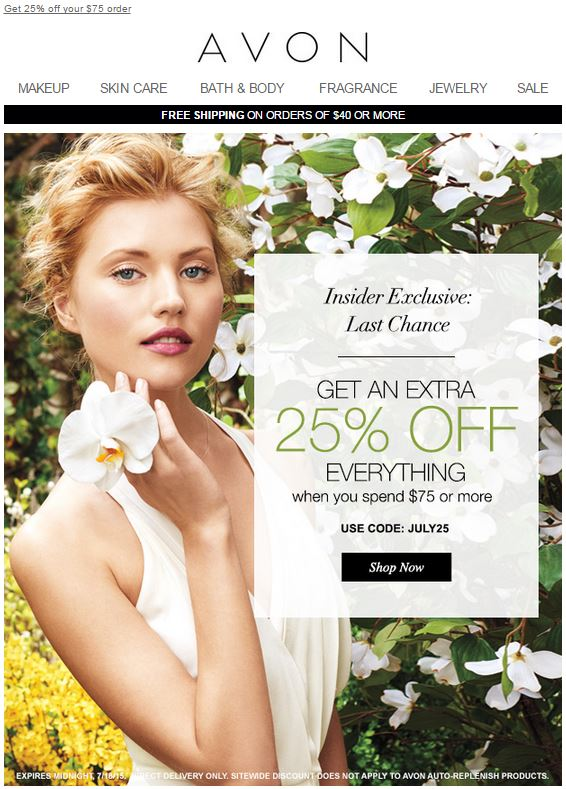 Avon Coupon Code JULY25
