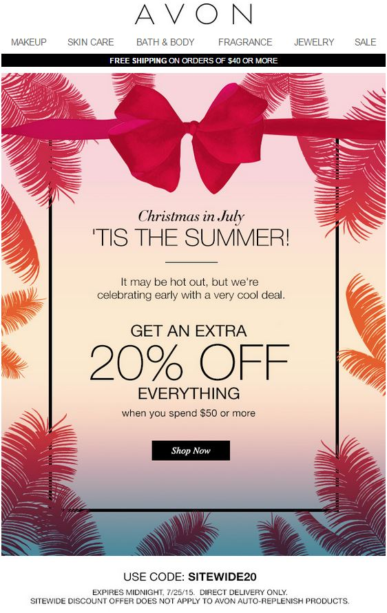 Avon Coupon Code SITEWIDE20