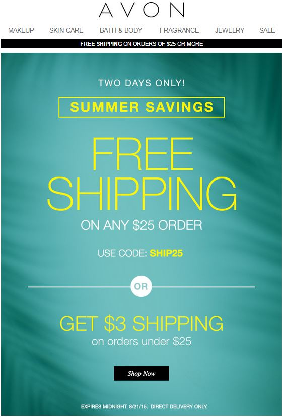 Avon Coupon Code SHIP25