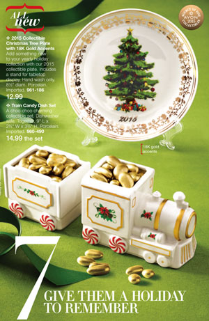 2015 Collectible Christmas Tree Plate with 24K Gold Accents
