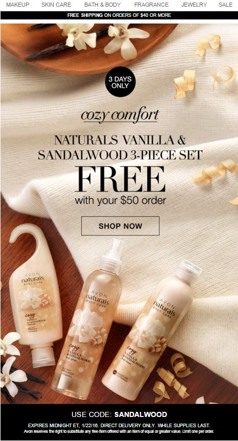 Avon Free Gift Code SANDALWOOD