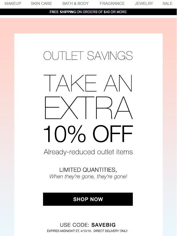 Avon Outlet Coupon Code SAVEBIG