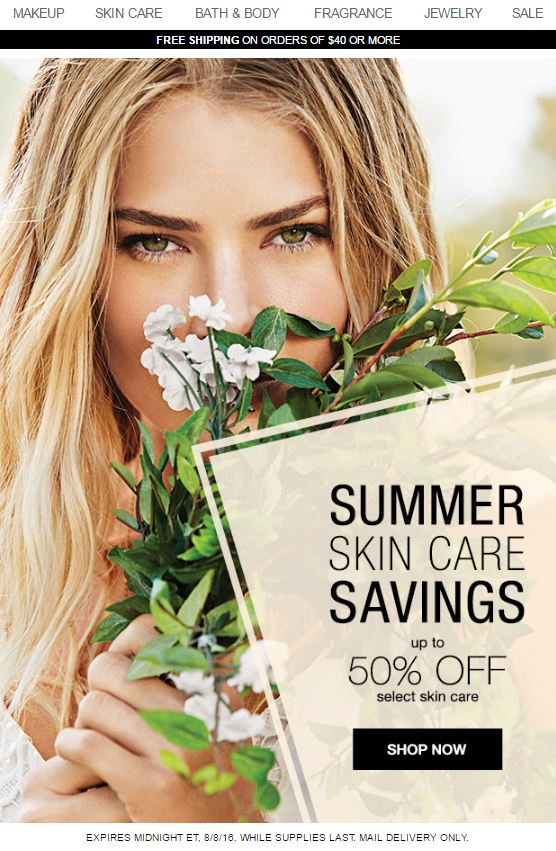 Avon Summer Skin Care Savings