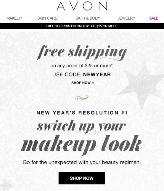 Avon Free Shipping Code NEWYEAR