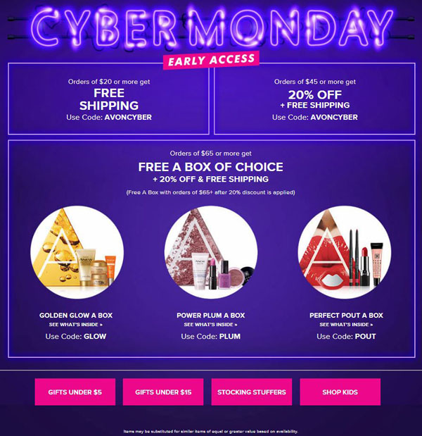 Avon Cyber Monday Savings